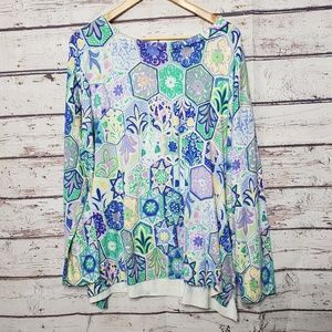 Talbots Sweater Plus Size 3x Blue Top Shirt